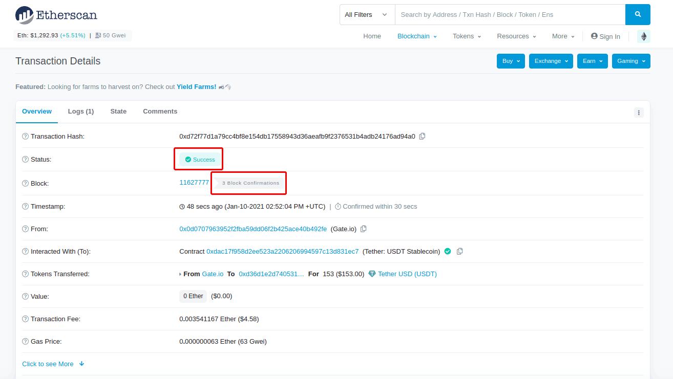 Ваша Tether транзакция получила 3 подтверждения в сети